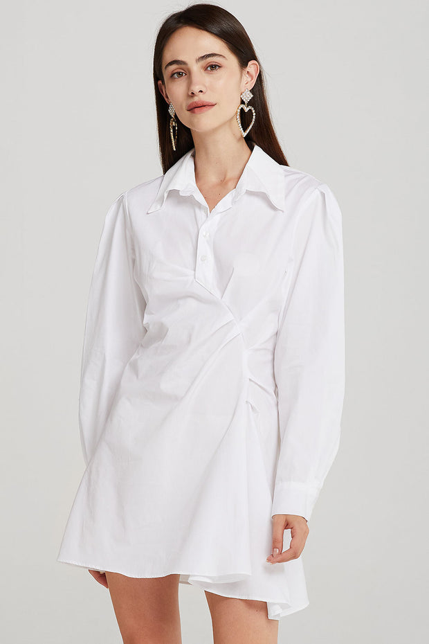 storets.com Hazel Asymmetric Ruched Shirt Dress