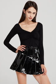 Delaney Pleated Mini Skirt in Patent Pleather