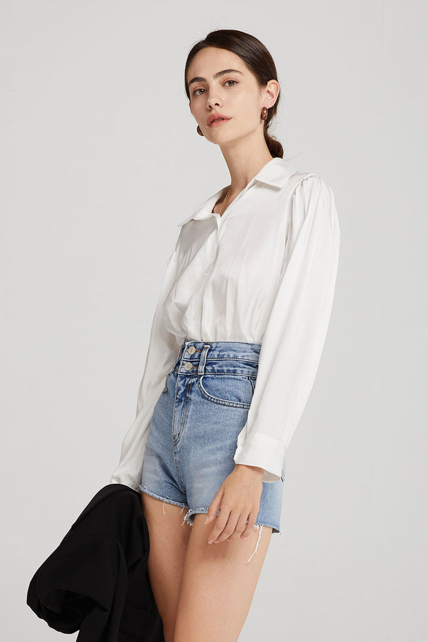 storets.com Molly Puff Sleeve Satin Blouse