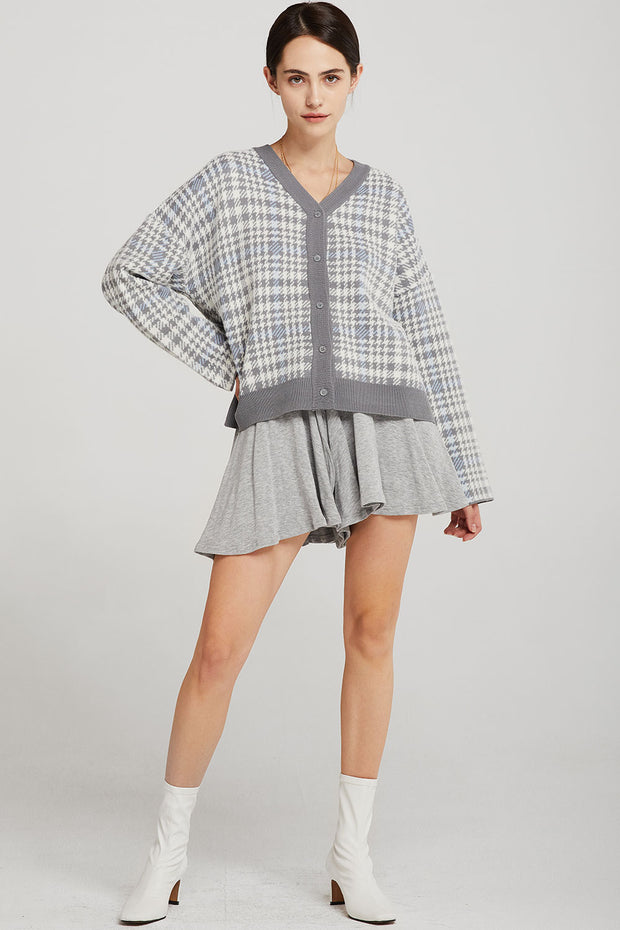 Julia Plaid Houndstooth Cardigan