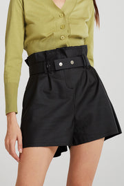 Lauren Paperbag Waist Pleather Shorts