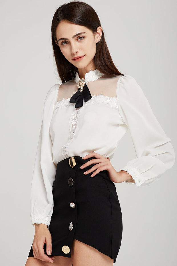 Jasmine Sheer Yoke Blouse w/Brooch