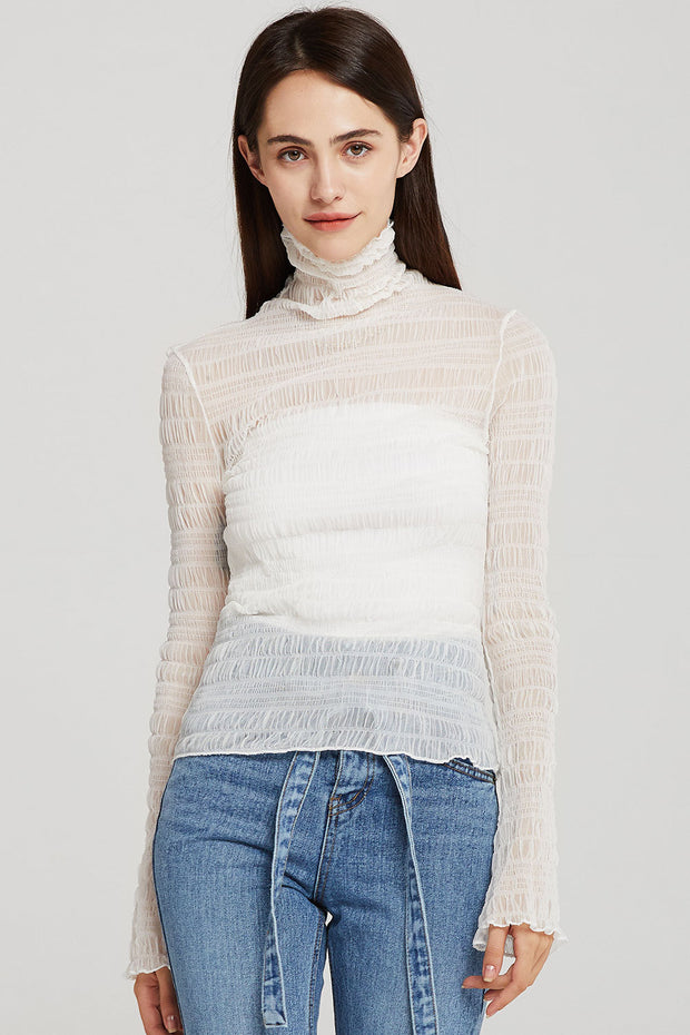 storets.com Kylie High Neck Sheer Top