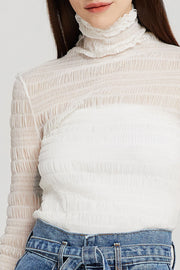Kylie High Neck Sheer Top