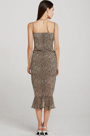 Caroline Ruched Leopard Cami Dress