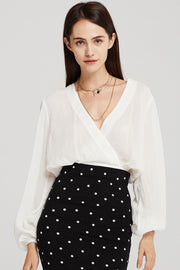 Arya Backless Wrap Cropped Blouse