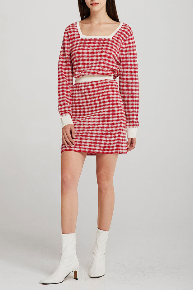 storets.com Valerie Checked Knitted Skirt