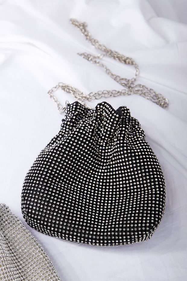 Stone Beaded Drawstring Purse
