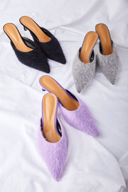 Fluffy Heeled Mules