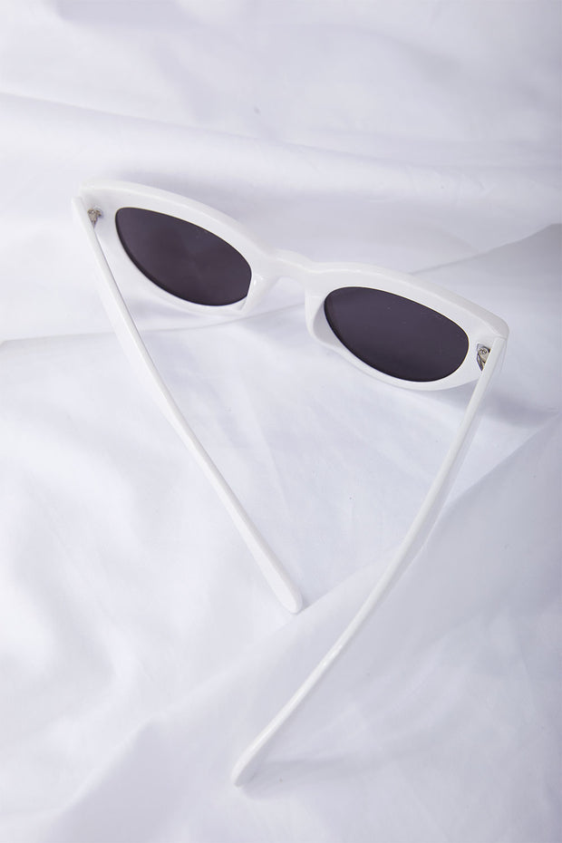 White Cat-Eye Sunglasses