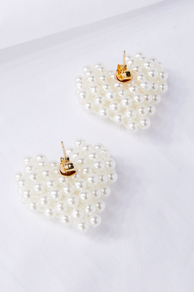 Beaded Pearl Heart Earrings