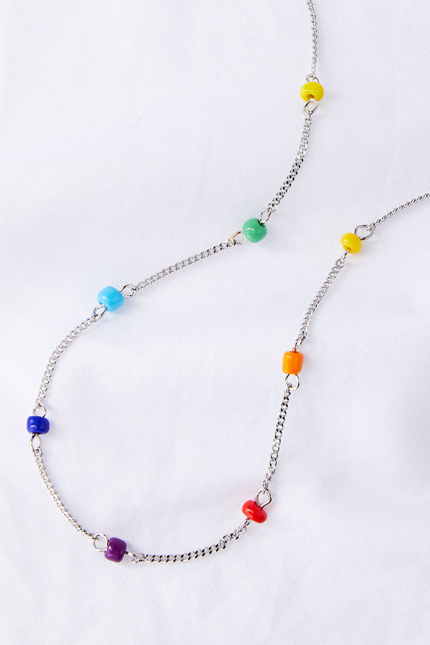 Rainbow Drop Beaded Necklace