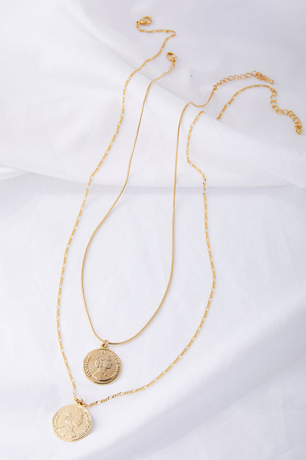 Coin Pendant 2 Layered Necklace