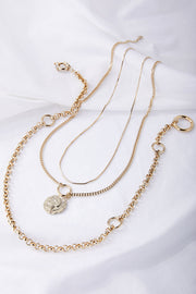Multi Chain Layered Necklace w/Pendant