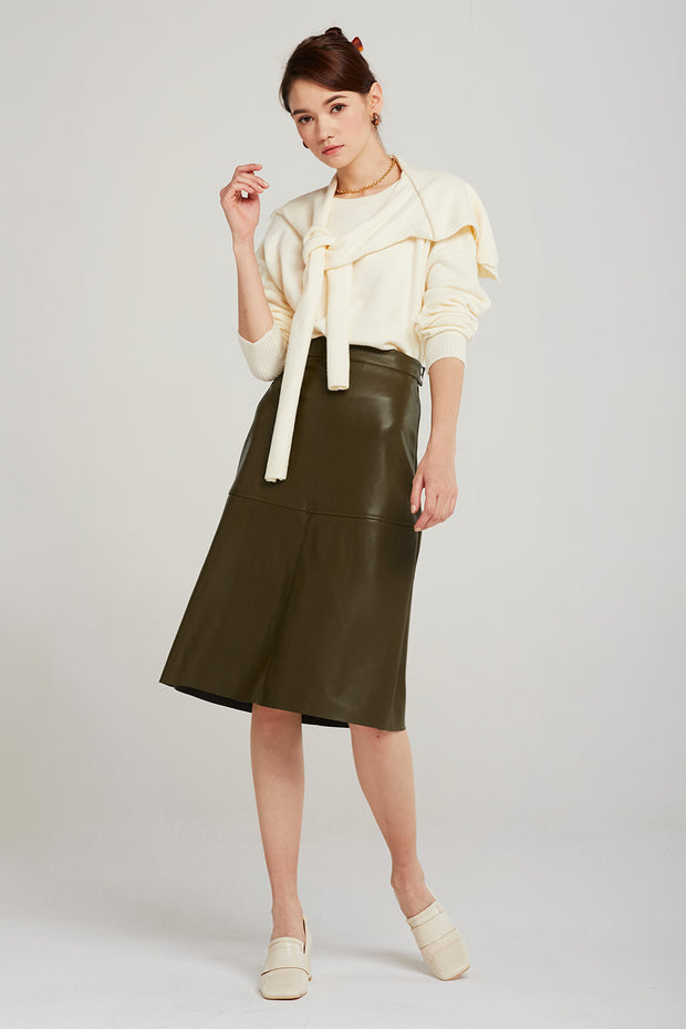 Freya Pleather Midi Skirt