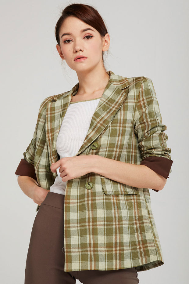 Audrey Plaid Blazer w/Belt