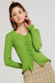 Claire Ribbed Ruffle Cardigan