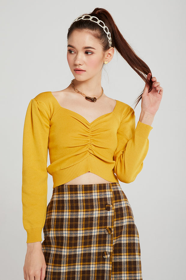 Aubree Ruched Front Crop Rib Top