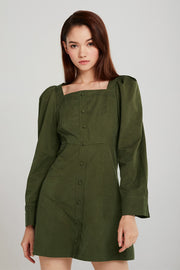 Aria Square Neck Dress w/Button Detail