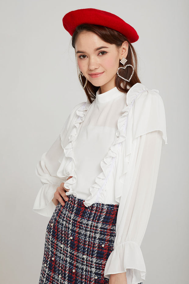 Faith Cascade Ruffle Blouse