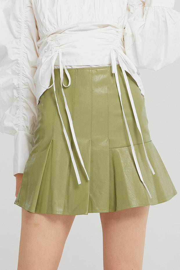 Maggie Asymmetric Pleated Pleather Skirt