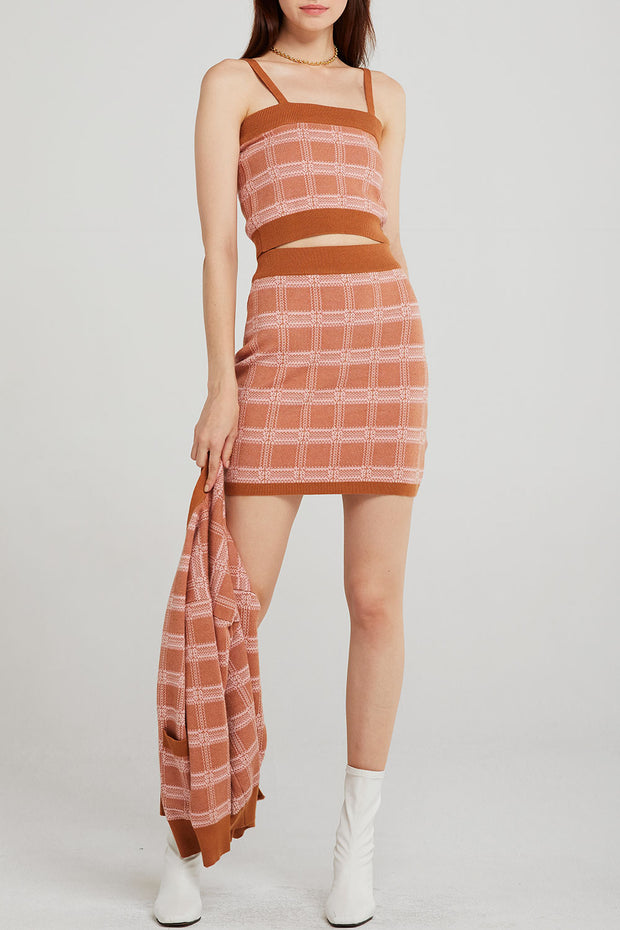 storets.com Sophia Grid Check Knit 3-Piece Set