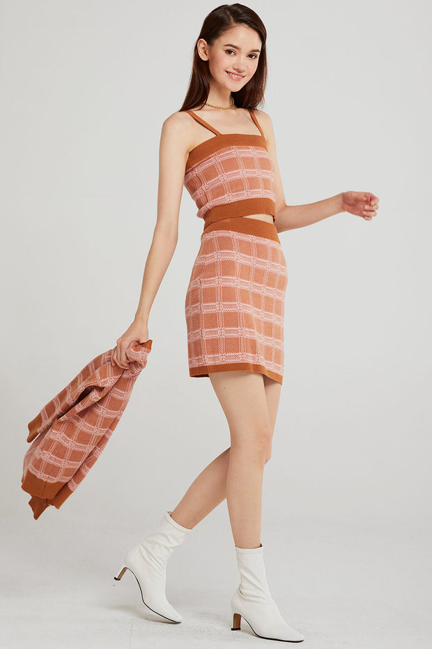Sophia Grid Check Knit 3-Piece Set