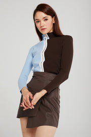 Alexa Zip-Up Color Block Top