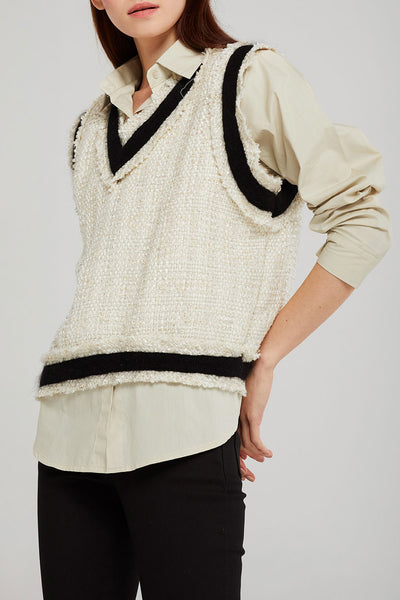 storets.com Kylie Contrast Trim Tweed Top
