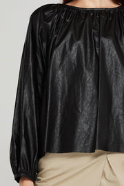 Taylor Pleated Volume Pleather Blouse