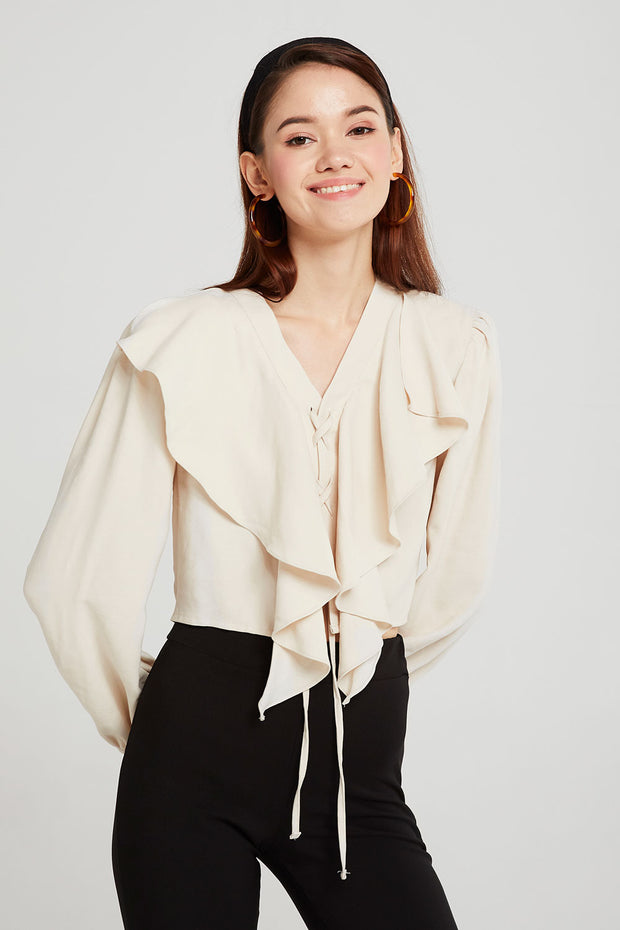 Hannah Eyelet Lace-Up Ruffle Blouse