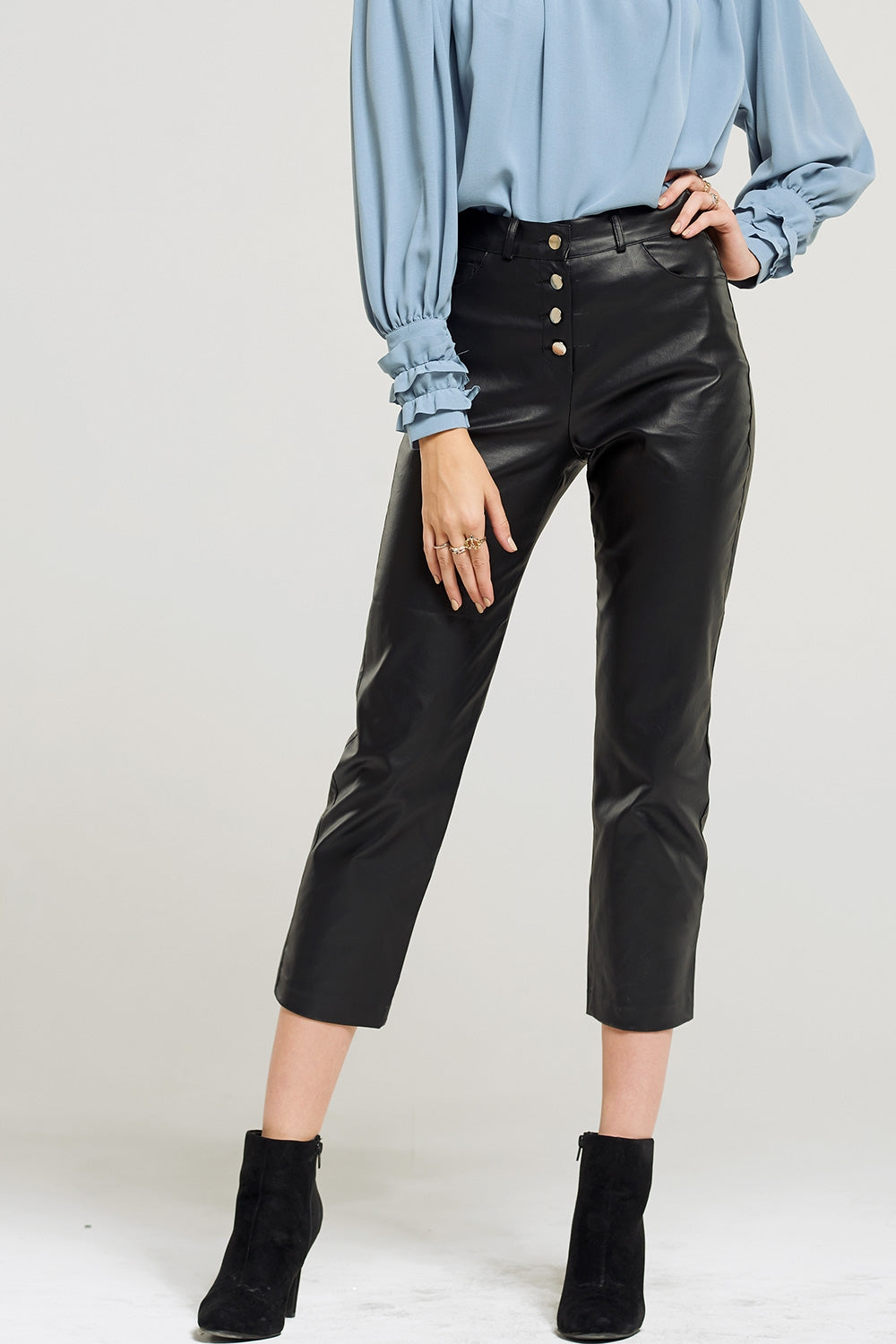 Bella Snap Buttons Leather Pants