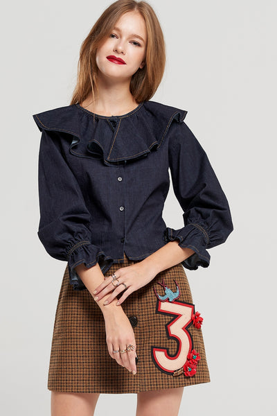 Luna Check Embellished Skirt
