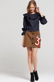 storets.com Luna Check Embellished Skirt
