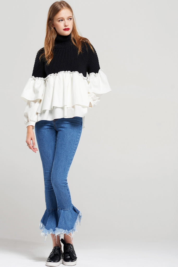Kate Tiered Ruffle Knit Sweater