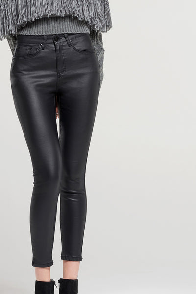 Tina Coated Black Jeans
