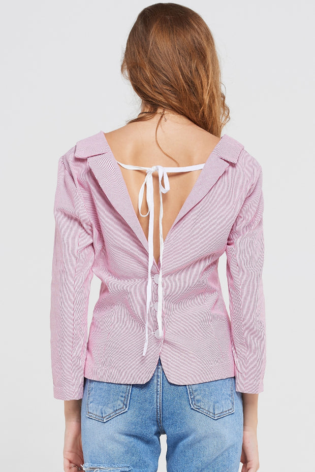 Eva Striped Jacket Style Top