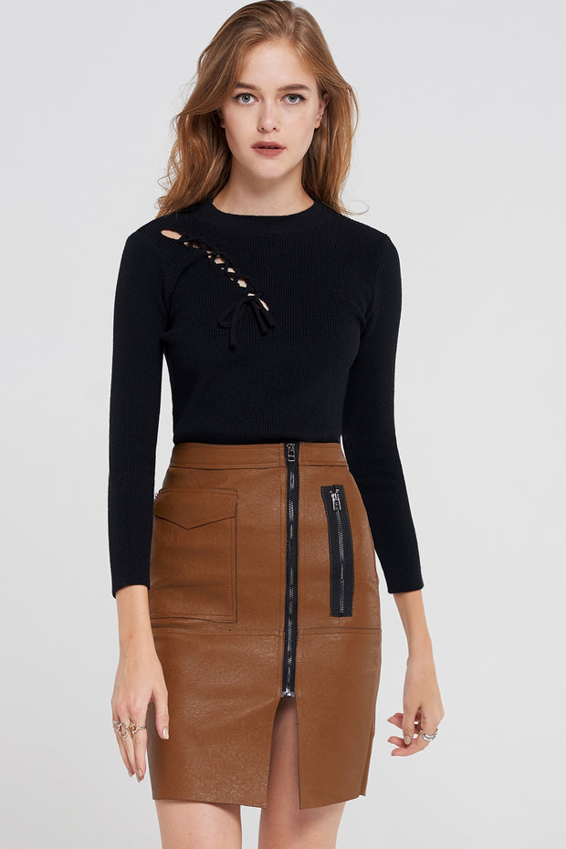 Erica Lace-Up Shoulder Knit Top