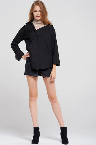 Polly High Neck Overlay Shirt