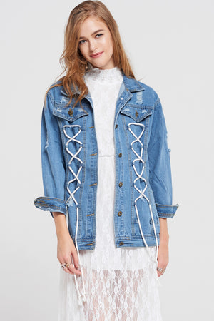 Sara Lace-Up Denim Jacket