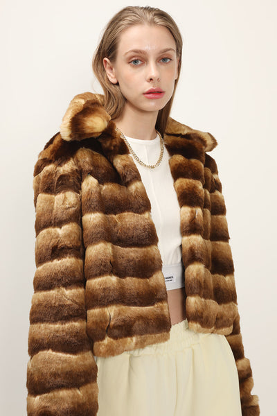 Raegan Striped Cropped Faux Fur Jacket