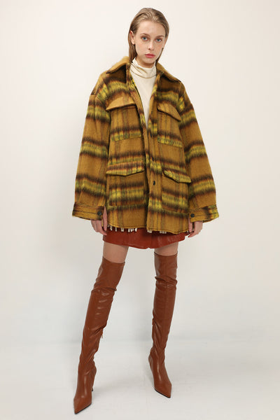 Julie Fuzzy Plaid Shacket