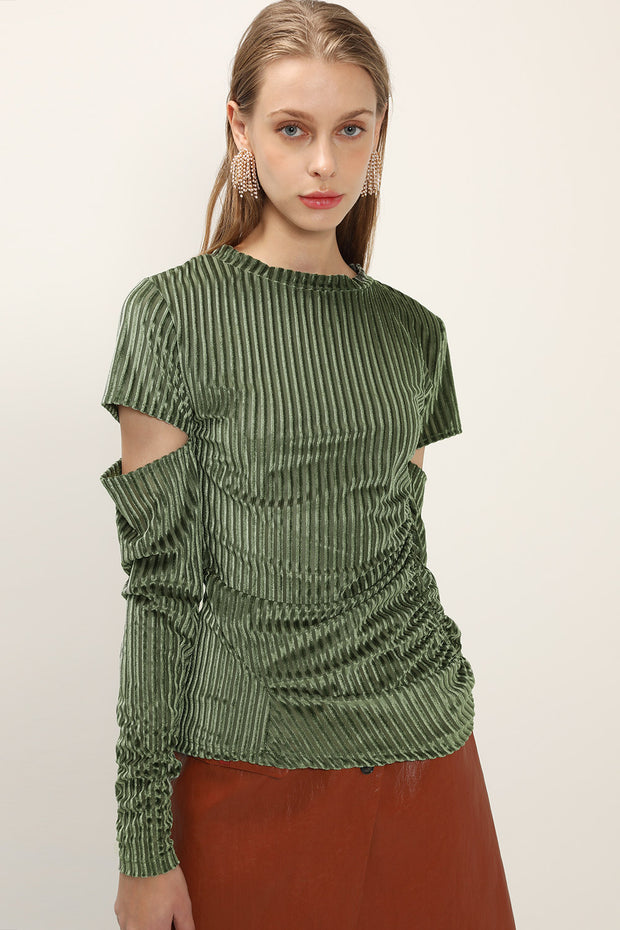 storets.com Teagan Cutout Sleeve Velvet Top