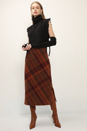 storets.com Riley Diagonal Plaid Midi Skirt