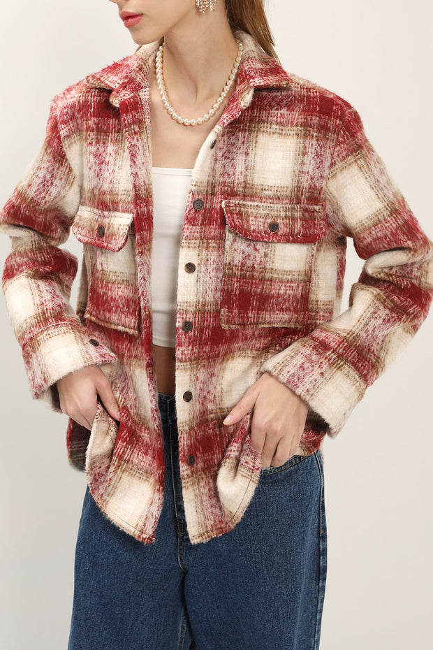Norah Fuzzy Plaid Shirt