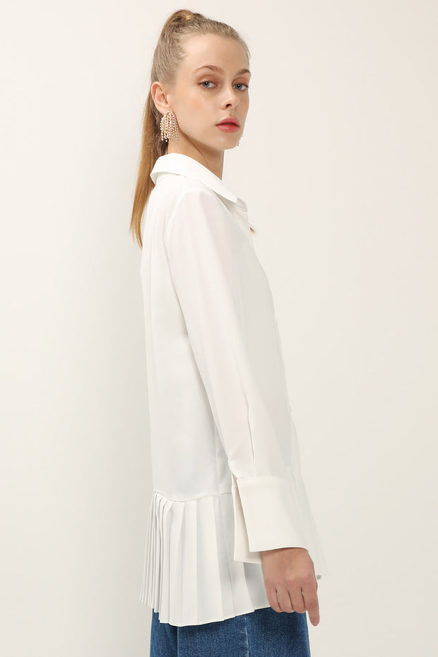 storets.com Reina Pleated Hem Shirt