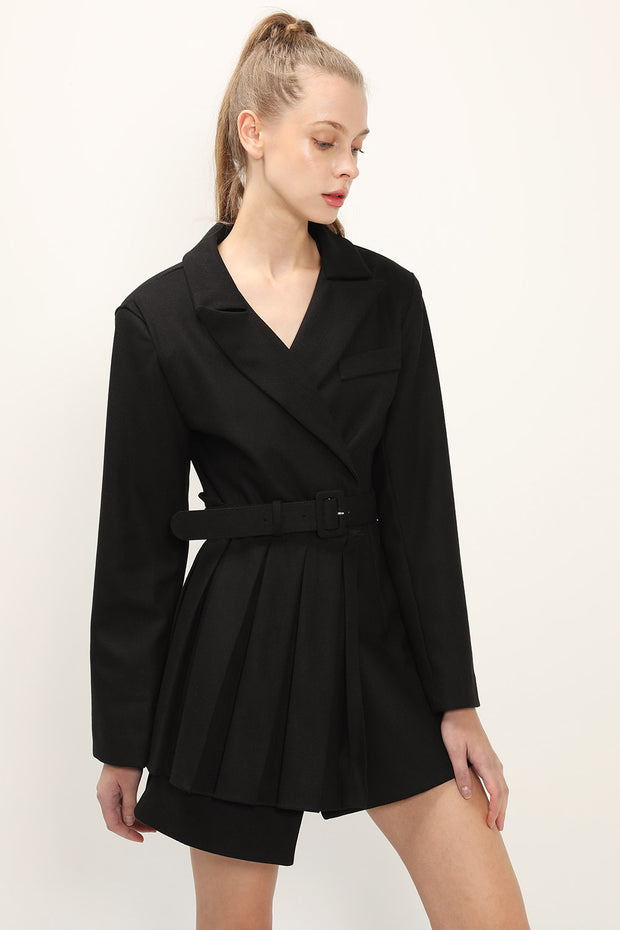 Evelynn Pleated Jacket Dress