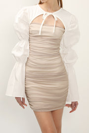 storets.com Sasha Cutout Sheer Ruched Dress