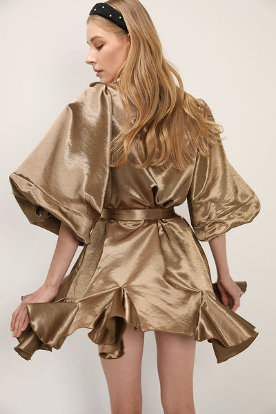 Amelia Satin Belted Shirt Dress