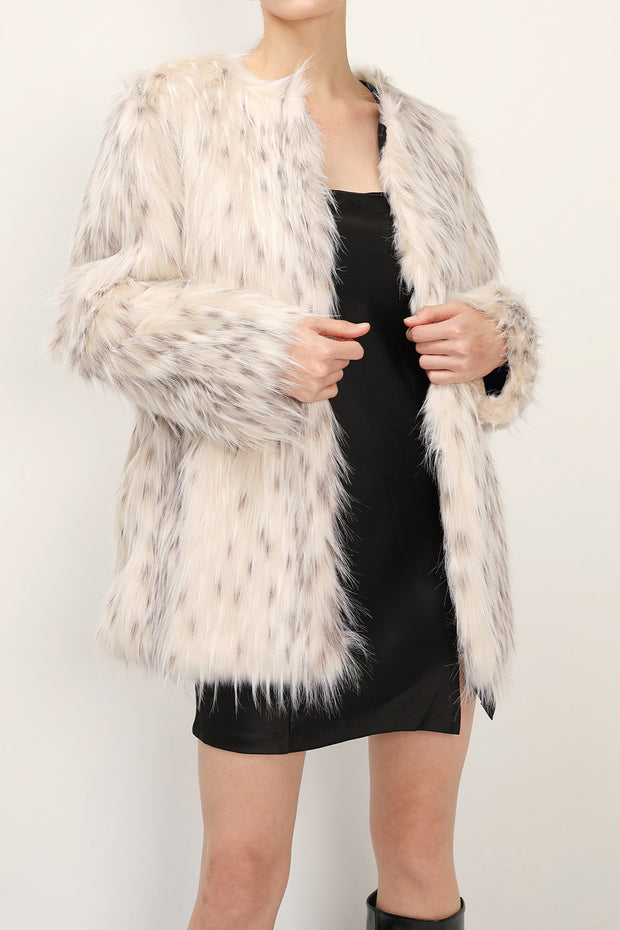 storets.com Demi Printed Shaggy Faux Fur Coat